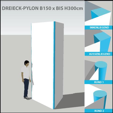 Dreieck-Pylon B150 x H300cm