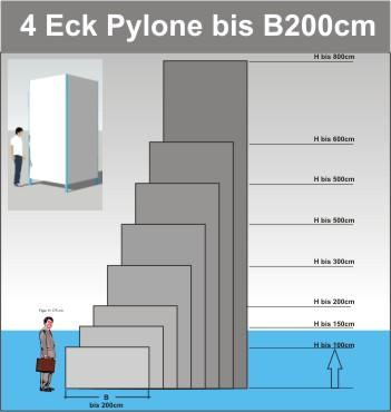 Viereck Pylone B200cm