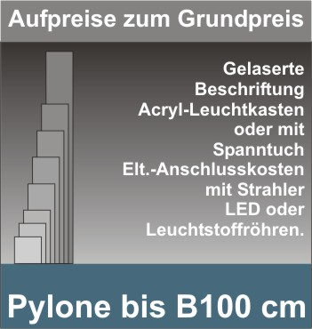 Viereck Pylone B100cm beleuchtet